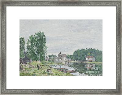 The Matrat Boatyard, Moret-sur-loing, Rainy Weather, 1892  Framed Print by Alfred Sisley
