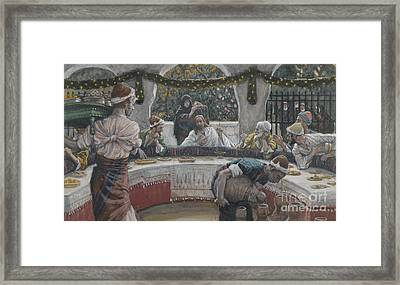 The Meal In The House Of The Pharisee Framed Print by Tissot