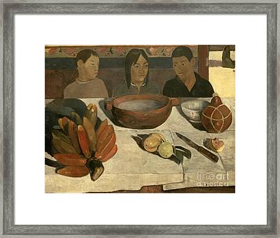 The Meal Framed Print by Paul Gauguin