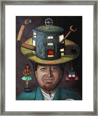 The Mechanic Part Of The Thinking Cap Series Framed Print by Leah Saulnier The Painting Maniac
