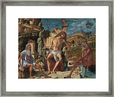 The Meditation On The Passion Framed Print by Vittore Carpaccio