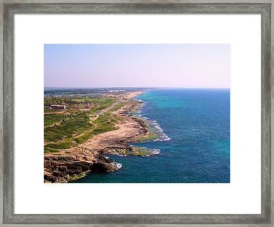 The Mediterranean From Rosh Hanikra Framed Print by Susan Heller