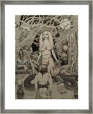The Meeting Of Loki And The Jotun Witch Angrboda  Framed Print