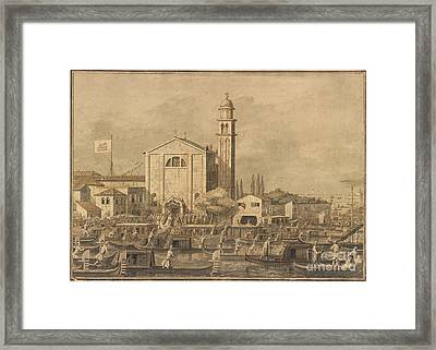 The Meeting Of Pope Pius Vi And The Doge On The Island Of S. Giorgio In Alga Framed Print by Celestial Images
