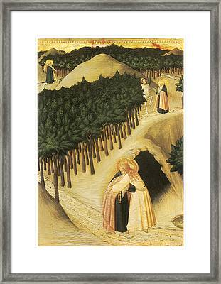 The Meeting Of St. Anthony And St. Paul Framed Print by Sassetta