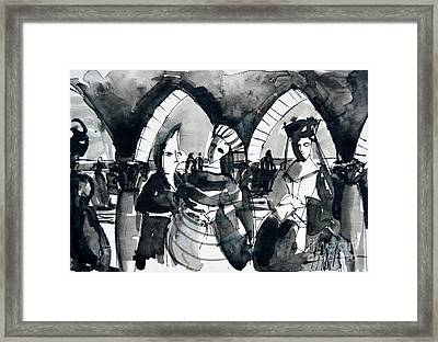 The Meeting - Venice Carnival Framed Print by Mona Edulesco