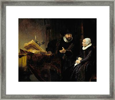 The Mennonite Preacher Anslo And His Wife Framed Print by Rembrandt