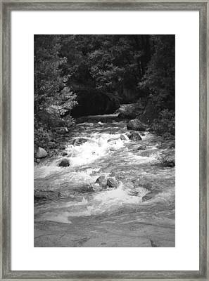 The Merced River At Yosemite Two B And W Framed Print