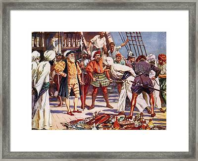 The Merchants Of Calicut, India, Held Framed Print by Vintage Design Pics
