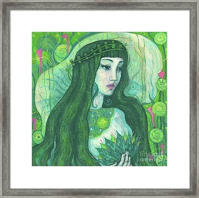 The Mermaid, Acrylic Painting, Fantasy Art Framed Print by Julia Khoroshikh