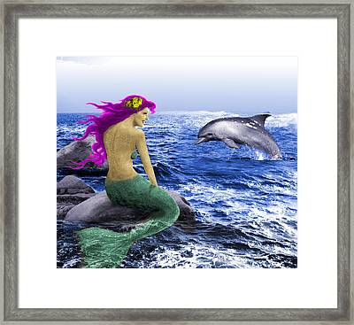 The Mermaid And The Dolphin Framed Print