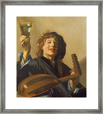 The Merry Lute Player Framed Print by Frans Hals