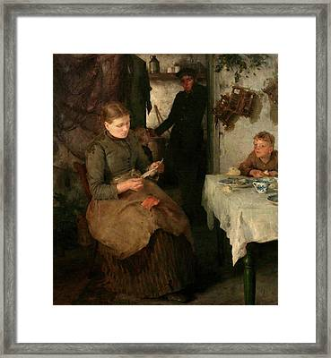Framed Print featuring the painting The Message by Henry Scott Tuke