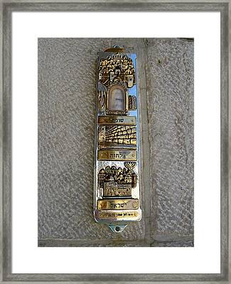 The Mezuzah At The Entry To The Kotel Plaza Framed Print by Susan Heller