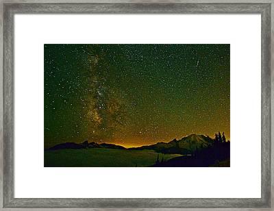 The Milky Way And Mt. Rainier Framed Print