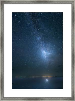Framed Print featuring the photograph The Milky Way And The Egret by Mark Andrew Thomas