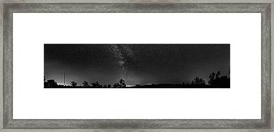 The Milky Way - Center Stage - 180 Panorama Bw Framed Print