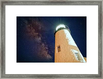 The Milky Way Over Pemaquid Point Framed Print