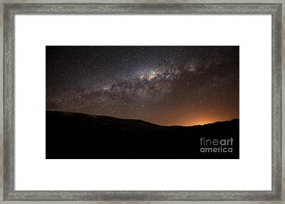 The Milky Way Setting Behind The Hills Framed Print