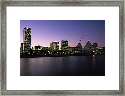 The Milwaukee Skyline At Twilight Framed Print by Medford Taylor