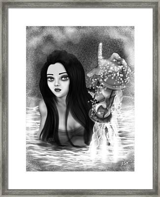 The Missing Key - Black And White Fantasy Art Framed Print