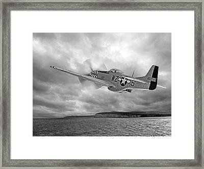 The Mission - P51 Over Dover In Black And White Framed Print by Gill Billington
