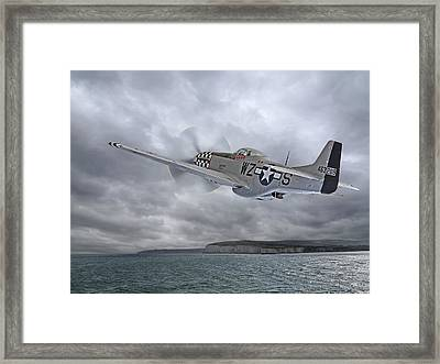 The Mission - P51 Over Dover Framed Print by Gill Billington