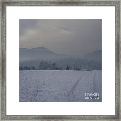 The Misty Wintery Afternoon Framed Print by Angel Ciesniarska