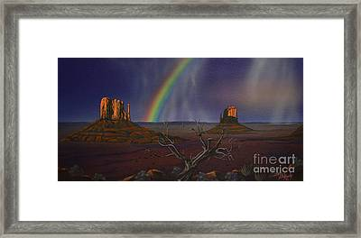 The Mittens Monument Valley Framed Print by Jerry Bokowski