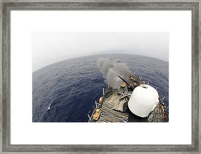 The Mk-75 76mm Cannon Aboard United Framed Print by Stocktrek Images