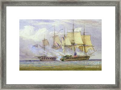 The Moment Of Victory Between Hms Shannon And The American Ship Chesapeake On 1st June 1813 Framed Print by John Christian Schetky