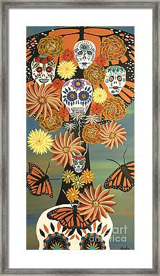 The Monarch's Tree Of Life And The Dead - Day Of The Dead Framed Print