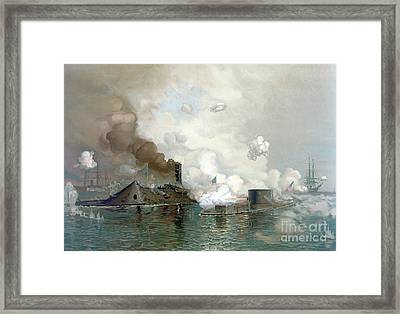 The Monitor And Merrimac, 9th March, 1862 Framed Print
