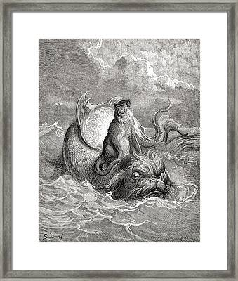 The Monkey And The Dolphin After A Work Framed Print