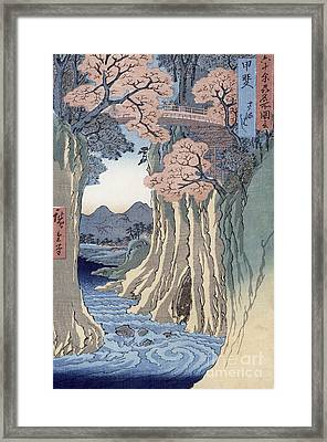 The Monkey Bridge In The Kai Province Framed Print by Hiroshige