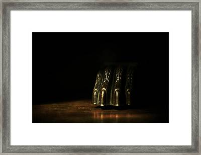 The Monster Under The Table Framed Print by Rebecca Sherman