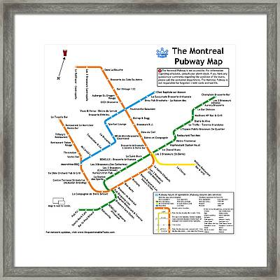 The Montreal Pubway Map Framed Print by Unquestionable Taste