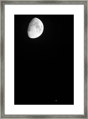 Framed Print featuring the photograph The Moon And Jupiter by Mark Dodd