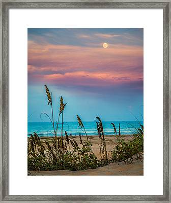 The Moon And The Sunset At South Padre Island 11 By 14 Crop Framed Print
