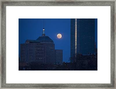 The Moon Rising Over Boston Framed Print by Toby McGuire