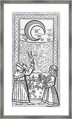 The Moon  Tarot Card Framed Print by Italian School