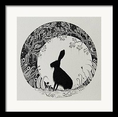 Nature Scene With Moon Drawings Framed Prints