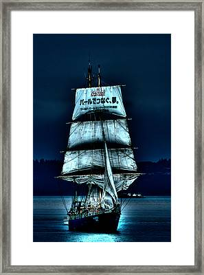 The Moonlit Kaisei Brigantine Tall Ship Framed Print