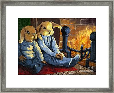 The Mopsy Twins  Framed Print by Linda Apple