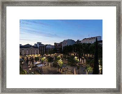 The Morning After - Empty Plaza De Santa Ana At Dawn Framed Print