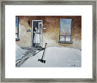 The Morning Paper Framed Print by Reb Frost