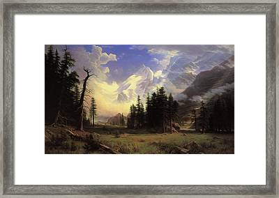 The Morteratsch Glacier Upper Engadine Valley Pontresina Framed Print by Albert Bierstadt