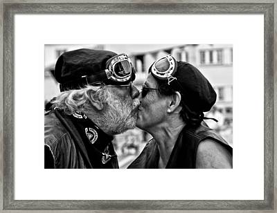 The Motard Kiss Framed Print