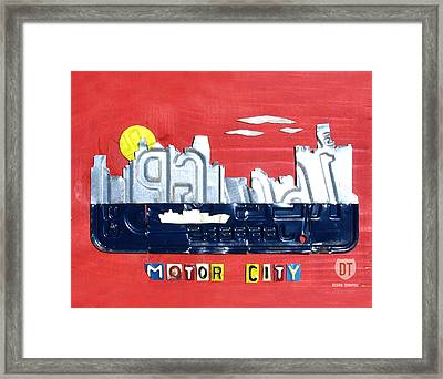 The Motor City - Detroit Michigan Skyline License Plate Art By Design Turnpike Framed Print by Design Turnpike