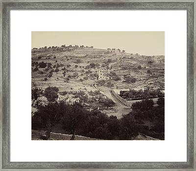 Framed Print featuring the pyrography The Mount Of Olives And Garden Of Gethsemane by Artistic Panda